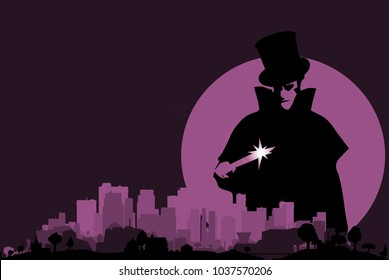 Jack the Ripper hovering over a purple cityscape with a full moon.
