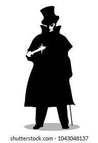 A Jack the Ripper silhouette over a white background