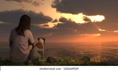 Jack russel terrier sitting with girl and viewing ocean sunset great background 3d illustration