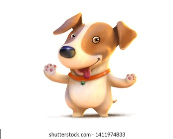 Jack russell puppy. Dog illustration painting.