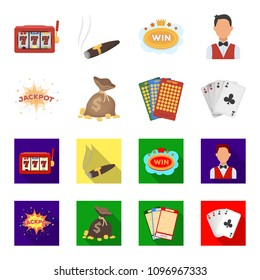 Jack sweat, a bag with money won, cards for playing Bingo, playing cards. Casino and gambling set collection icons in cartoon,flat style bitmap symbol stock illustration web.