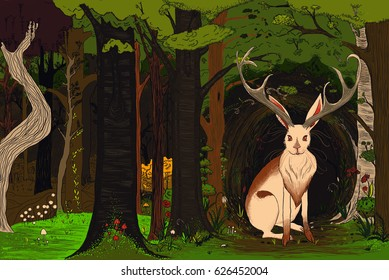 jackalope in magical forest illustration