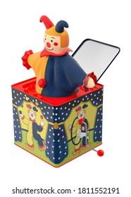 Jack-in-the-box 3D illustration on white background