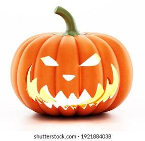 Jack-o'-lantern (carved pumpkin) isolated on white background. 3D illustration.