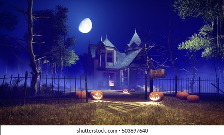 Jack-o-lantern Halloween pumpkins on the trail leading to abandoned haunted house among creepy trees at misty night with fantastic big moon in sky. 3D illustration from my own 3D rendering file.