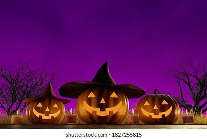 暗い夜に笑うジャック・オ・ランタン。 ハロウィーン用の3Dレンダリンググラフィックス。