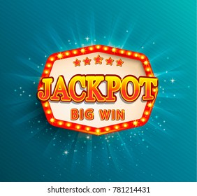 Jackpot lighting banner. Symbol of Big Win. Raster copy.