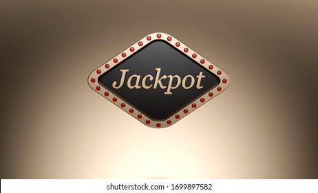 Jackpot Sign Shining Modern Golden Banner On The Gold Background - 3D Illustration
