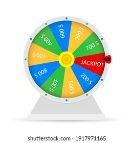 Jackpot win in wheel fortune lottery. Happy win in casino, illustration lucky gamble entertainment. gamble game