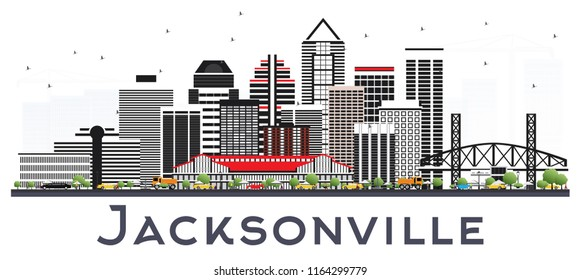 Jacksonville Florida City Skyline with Gray Buildings Isolated on White. Business Travel and Tourism Concept with Modern Architecture. Jacksonville Cityscape with Landmarks.