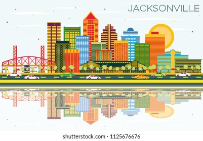 Jacksonville Florida Skyline with Color Buildings, Blue Sky and Reflections. Business Travel and Tourism Concept with Modern Architecture. Jacksonville Cityscape with Landmarks.