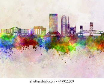 Jacksonville skyline in watercolor background