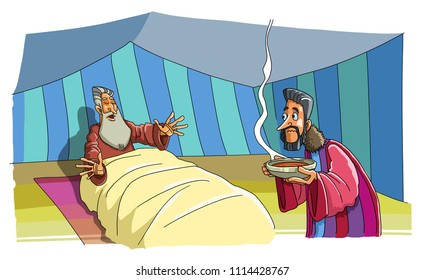 Jacob came to the Tent of his blind Father Isaac and brought Food. He wants to deceive him and take the Blessing of his Brother.