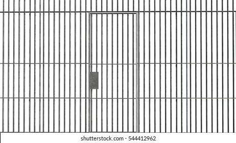 Jail bars with door isolated on white background - 3d rendering
