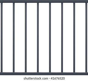 Jail Bars Isolated in White