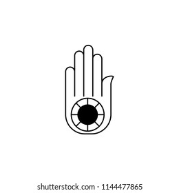 Jainism Ahimsa Hand sign icon. Element of religion sign icon for mobile concept and web apps. Detailed Jainism Ahimsa Hand icon can be used for web and mobile