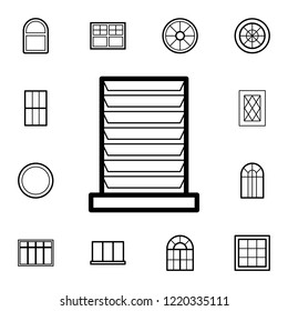 jalousie window icon. Detailed set of Doors, gates and windows icons. Premium quality graphic design icon. One of the collection icons for websites, web design, mobile app on white background