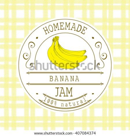 jam label design template banana dessert stock illustration