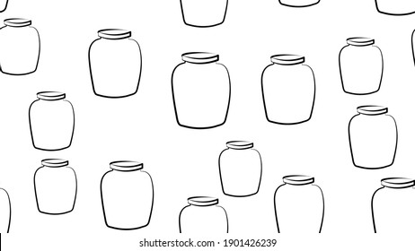 Jam seamless pattern with thin line icons. Glass jars with honey, jelly and other canned organic food. Homemade sweet preserves background.