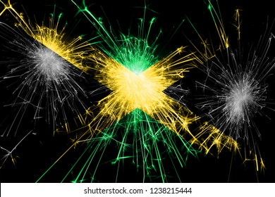 Jamaica fireworks sparkling flag. New Year, Christmas and National day concept
