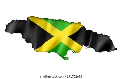 Jamaica flag map, three dimensional render, isolated on white