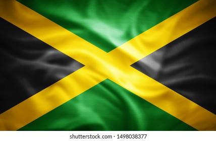 Jamaikanische Seidenflagge - 3D-Illustration