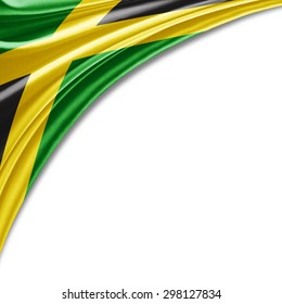 Jamaica flag of silk with copyspace for your text or images and white background