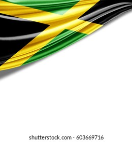 Jamaica flag of silk with copyspace for your text or images and white background-3D illustration