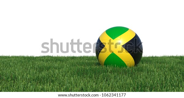 jamaica Jamaican flag soccer ball lying in grass, isolated on white background. 3D Rendering, Illustration.