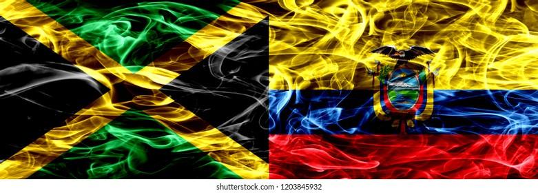 Jamaica vs Ecuador, Ecuadorian smoke flags placed side by side. Thick colored silky smoke flags of Jamaican and Ecuador, Ecuadorian