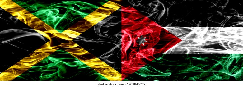 Jamaica vs Jordan, Jordanian smoke flags placed side by side. Thick colored silky smoke flags of Jamaican and Jordan, Jordanian