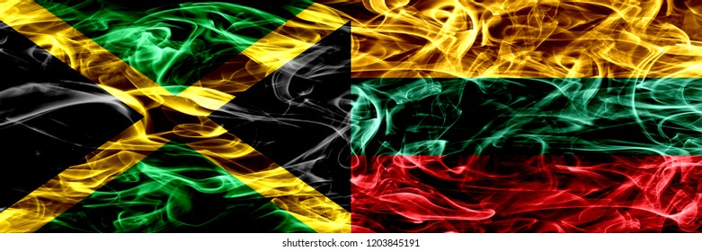 Jamaica vs Lithuania, Lithuanian smoke flags placed side by side. Thick colored silky smoke flags of Jamaican and Lithuania, Lithuanian