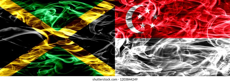 Jamaica vs Singapore, Singaporean smoke flags placed side by side. Thick colored silky smoke flags of Jamaican and Singapore, Singaporean