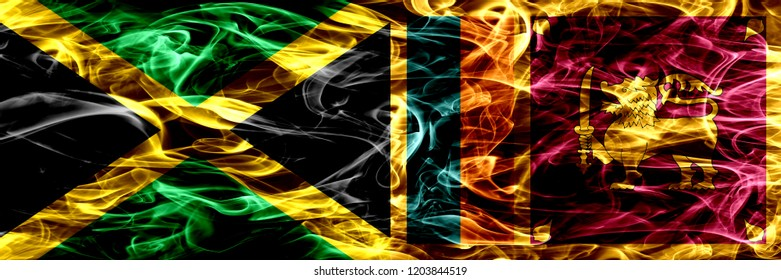 Jamaica vs Sri Lanka, Sri Lankan smoke flags placed side by side. Thick colored silky smoke flags of Jamaican and Sri Lanka, Sri Lankan