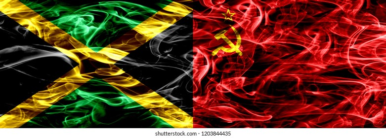 Jamaica vs USSR, Communist smoke flags placed side by side. Thick colored silky smoke flags of Jamaican and USSR, Communist