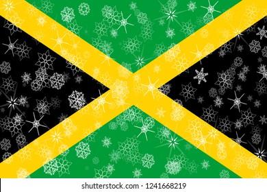 Jamaica winter snowflakes flag background.