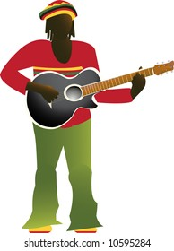 Jamaican man in bright clothes playing guitar