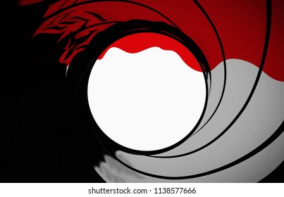 James Bond 007 gun barrel target background with blood running down the screen
