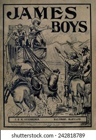 THE JAMES BOYS, DEEDS OF DARING, by James Edgar, 1911, with an illustration of the James Gang robbing of a stage coach.