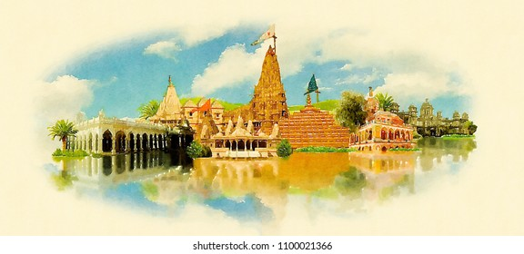Jamnagar city water color panoramic illustration