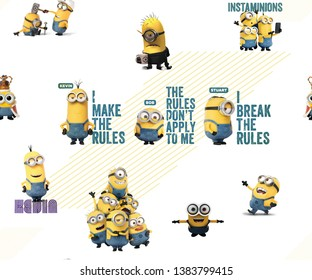 Jamnagar, Gujarat India- March 23, 2019:Minions Seamless Pattern design for wallpaper and textile printing