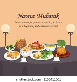 Jamshedi Navroz or the Parsi New Year falls August 17th 2017 and marks the beginning of New Year as per the Parsi Calendar. Illustration of parsi food and new year celebration.