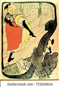 Jane Avril, by Henri de Toulouse-Lautrec, 1893, French Post-Impressionist print, lithograph. Avril, friend of the artist, commissioned this print to advertise her cabaret show at the Jardin de Paris
