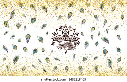 Janmashtami Seamless Illustration With Golden Sprinklers. Plumage pattern. Spiritual wallpaper for birth celebration of Krishna Janmashtami. Creative background with text and peacock feather.Hinduism.