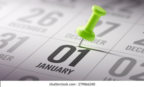 January 01 written on a calendar to remind you an important appointment.