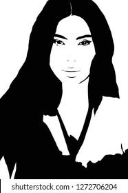 January 02, 2019: illustration of Kimberly Noel Kardashian West, an American reality television personality, entrepreneur and socialite-illustration. Kim kardashian