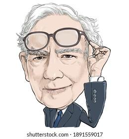 January 12, 2021 Caricature of Warren Edward Buffett, Warren Buffett, Investor , Businessman Millionaire Portrait Drawing Illustration.