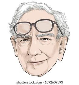 January 13,  2021 Caricature of Warren Edward Buffett, Warren Buffett, Investor , Businessman Millionaire Portrait Drawing Illustration.