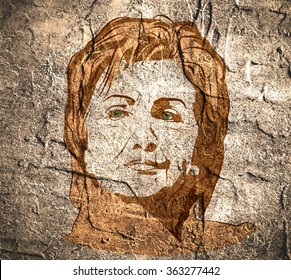 January 15, 2016: A illustration showing Democrat presidential candidate Hillary Clinton on concrete wall textured surface background done in hand draw style.