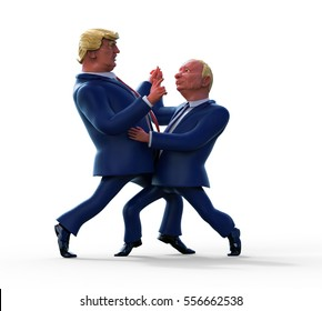 January 15, 2017: Character portrait of Donald Trump and Vladimir Putin dancing. 3D illustration